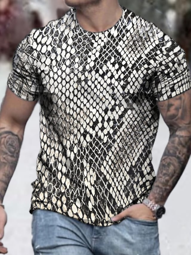 Men's Tee T shirt Shirt 3D Print Graphic Snakeskin Graphic Prints Plus Size Short Sleeve Casual Tops Basic Designer Slim Fit Big and Tall Gray