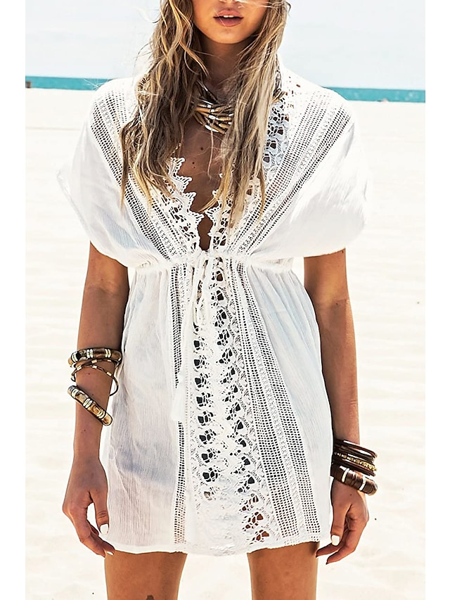 Women's Beach Top Swimsuit Hollow Out Lace Solid Color White Swimwear Bathing Suits Sexy / Holiday / V Neck / Cotton