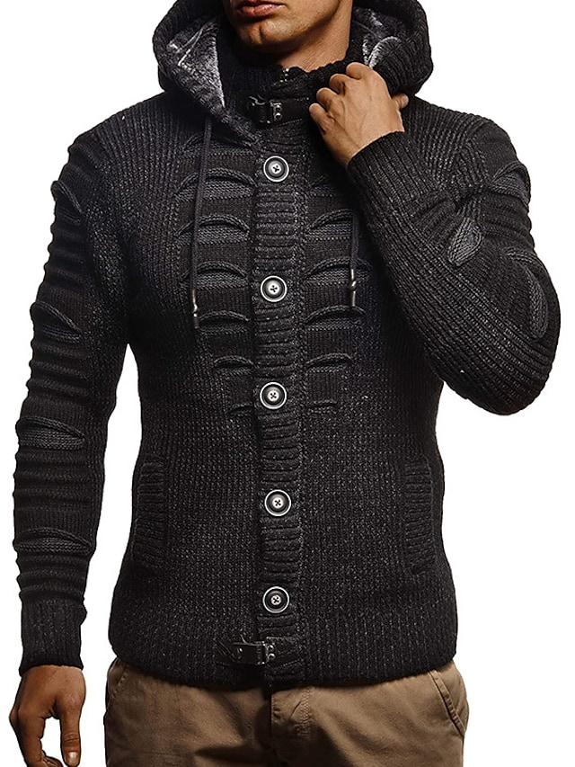 Men's Unisex Cardigan Knitted Solid Color Stylish Vintage Style Long Sleeve Sweater Cardigans Hooded Fall Winter Gray White Black