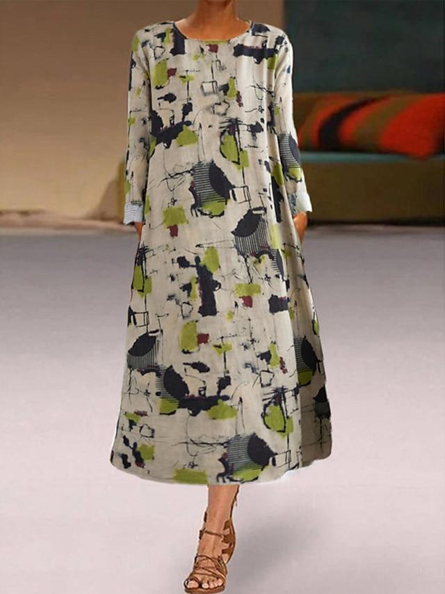 Women's A Line Dress Midi Dress Green Long Sleeve Print Print Fall Round Neck Casual 2021 M L XL XXL