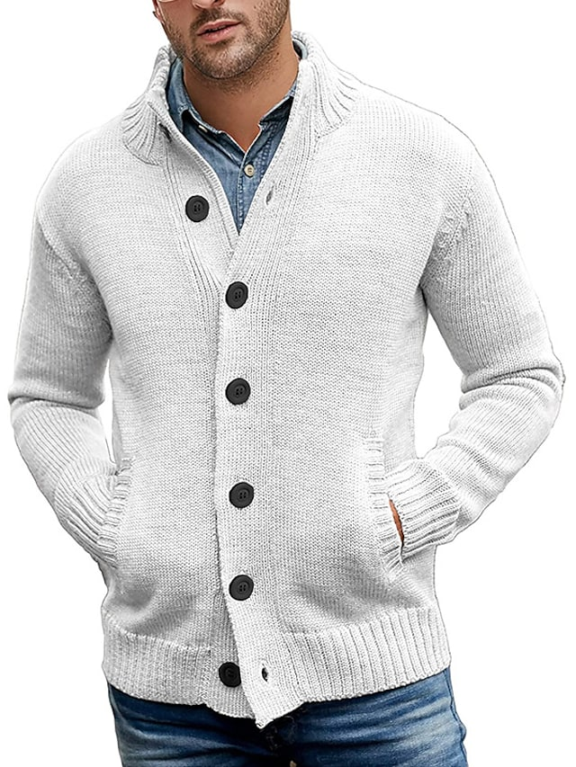 Men's Unisex Cardigan Knitted Solid Color Stylish Vintage Style Long Sleeve Sweater Cardigans V Neck Fall Winter Army Green Khaki Royal Blue