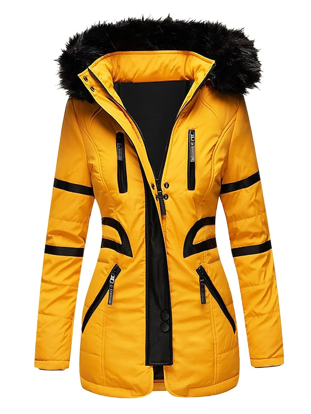 Women's Parka Traveling Outdoor Fall Autumn Regular Coat Regular Fit Windproof Warm Basic Casual Jacket Long Sleeve Solid Color Zipper Navy Scarlet Yellow Hooded