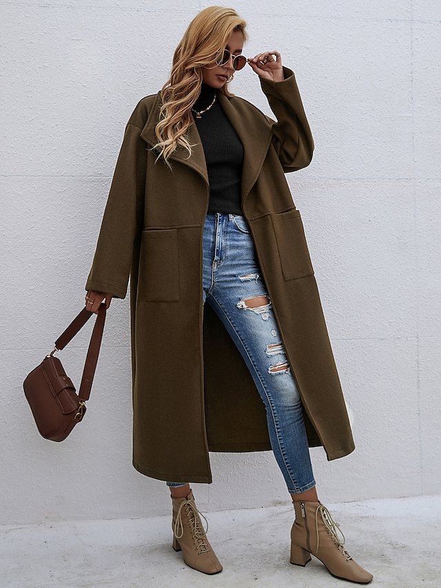 Women's Coat Daily Work Fall Winter Long Coat Slim Warm Sporty Casual Jacket Long Sleeve Solid Color Patchwork Coffee