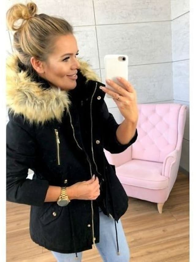 Women's Padded Street Fall Winter Long Coat Regular Fit Casual Daily Jacket Long Sleeve Solid Colored Zipper Blue Blushing Pink  Spring  Lined
