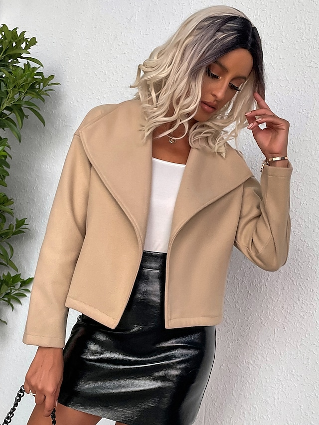 Women's Jacket Regular Coat Slim Thermal Warm Casual Jacket Long Sleeve Solid Color Patchwork Apricot