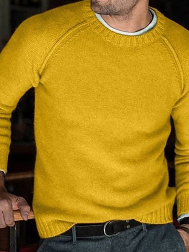 Men's Unisex Pullover Knitted Solid Color Stylish Vintage Style Long Sleeve Sweater Cardigans Crew Neck Fall Winter Yellow Blushing Pink Gray