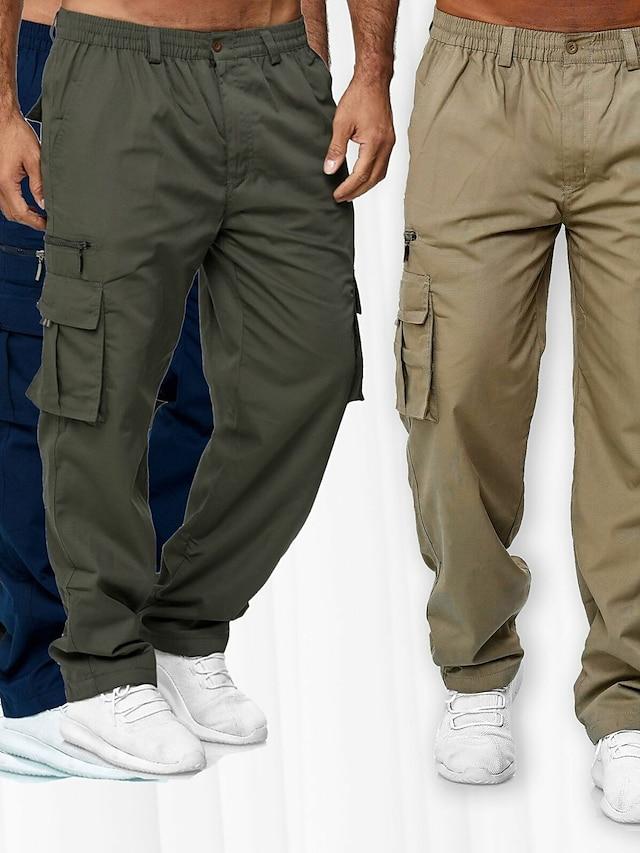 Men's Cargo Chino Outdoor Sports Casual Sports Pants Tactical Cargo Pants Solid Color Full Length Drawstring Elastic Waist ArmyGreen Khaki Black Navy Blue