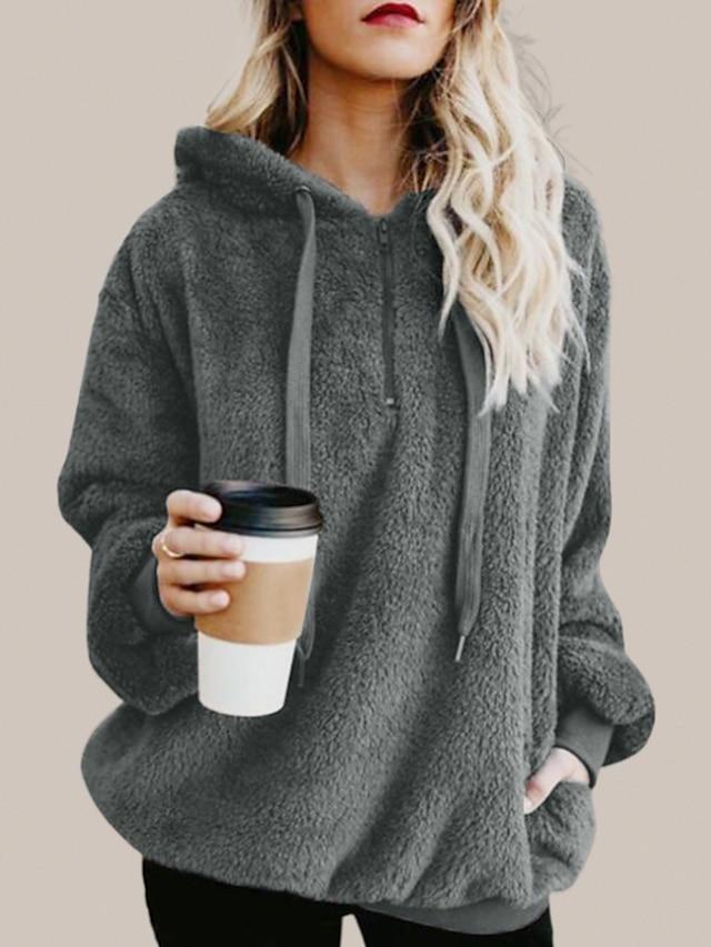 Women's Hoodie Pullover Sweatshirt Solid Color Pocket Quarter Zip Casual Daily Weekend Sportswear Casual