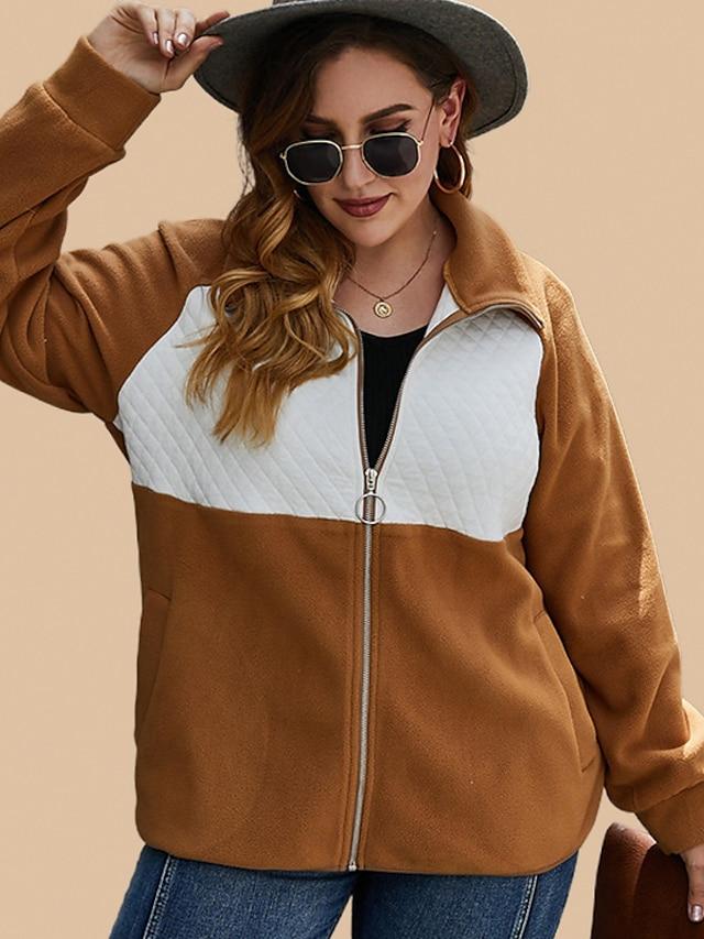 Women's Jacket Patchwork Warm Regular Turndown Going out