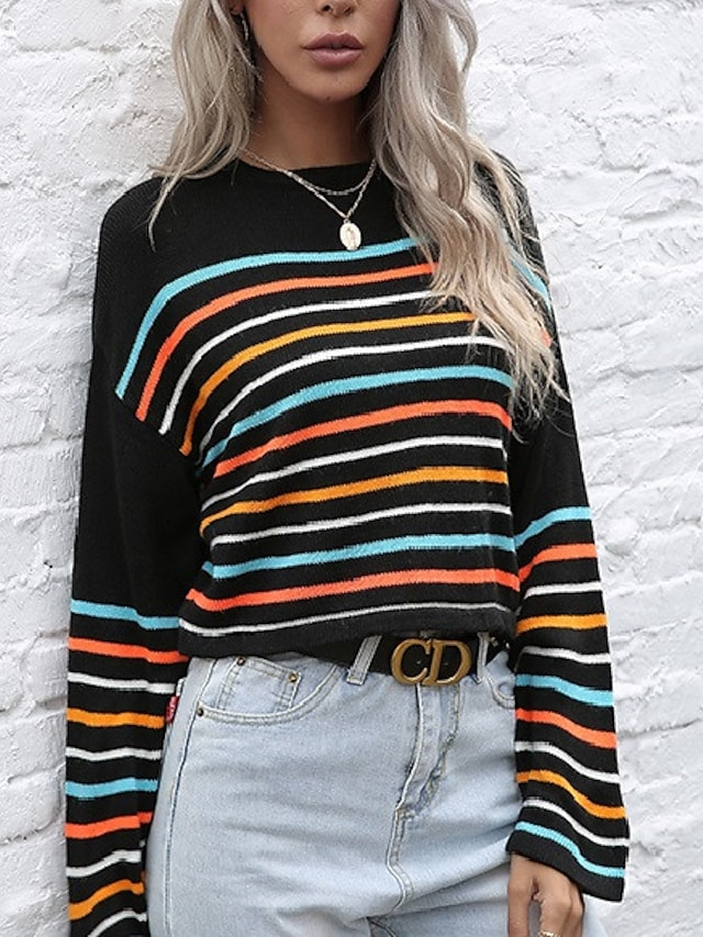 Women's Stripe Ribbed Knit Sweater Long Sleeve Tops Drop Shoulder Pullover Casual