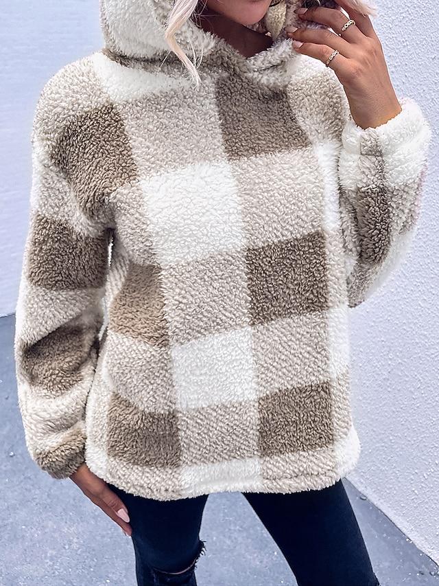 Women's WoPullover Hoodie Sweatshirt Plaid Checkered Patchwork Daily Sports Work Casual Hoodies Sweatshirts