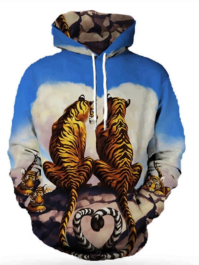 Men's Unisex Pullover Hoodie Sweatshirt Graphic Prints Tiger Print Hooded Daily Sports 3D Print 3D Print Casual Hoodies Sweatshirts  Long Sleeve Blue