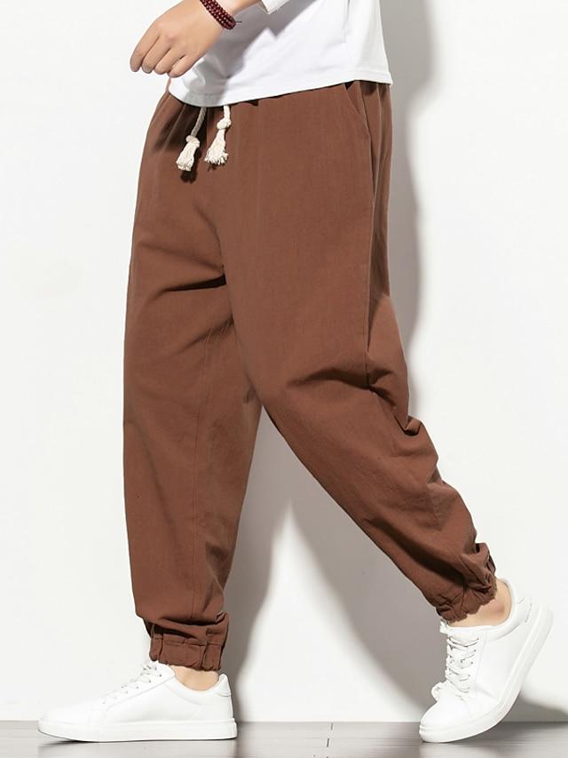 Men's Casual / Sporty Plus Size Loose Harem Jogger Pants Trousers Pants Graphic Prints Elastic Waistband Drawstring Wine Light Grey Black Dark Gray Navy Blue