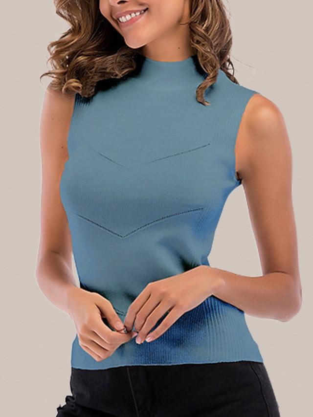 litb basic Damen Mock Neck Rippstrick Tanktop einfarbig ärmellos einfache tägliche Sommer Damenhemden