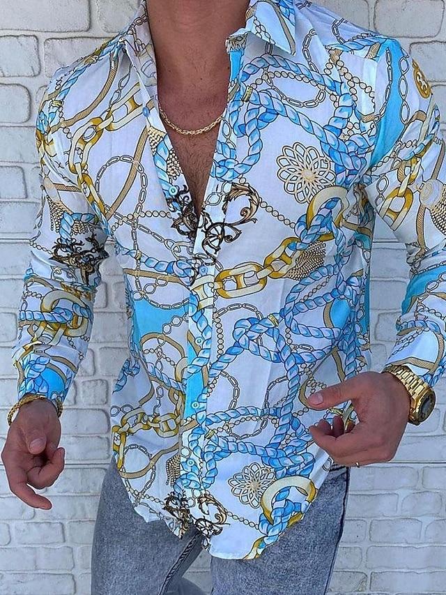Men's Shirt Tartan Patchwork Print Long Sleeve Going out Slim Tops Designer Punk & Gothic Standing Collar Blue