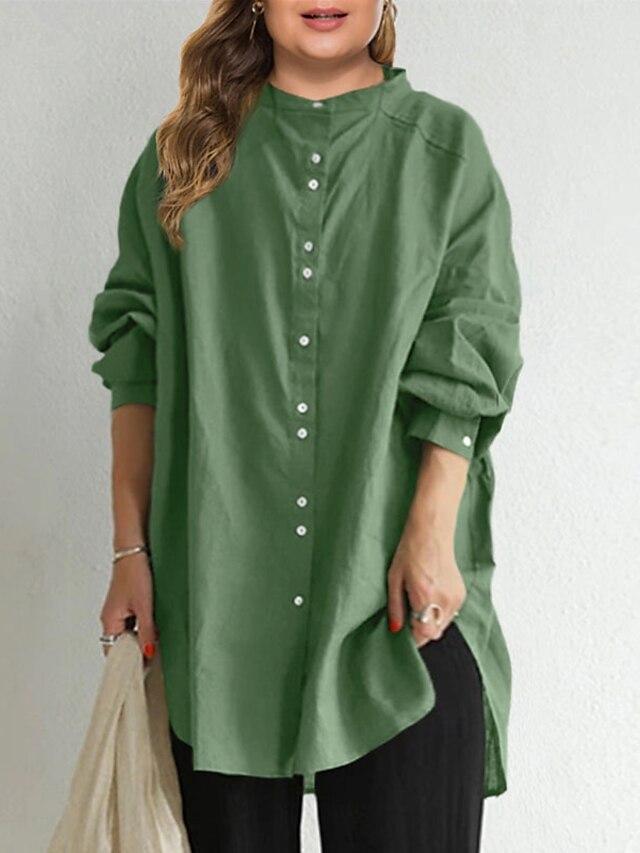 Women's Plus Size Tops Shirt Plain Long Sleeve Crewneck Basic Daily Weekend Cotton Fall Spring Blue Green / Loose