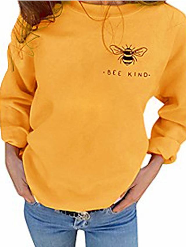 Bee Letter Animal Cotton Basic Hoodies Sweatshirts  Regular Fit Wine Red Gray Black Yellow black / Autumn / Fall