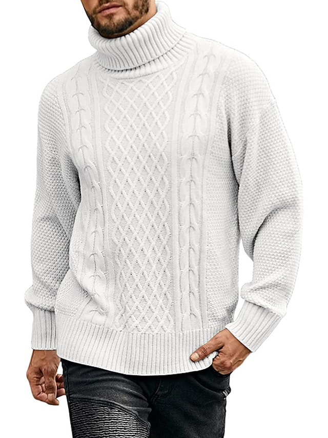 Men's Unisex Pullover Knitted Solid Color Stylish Vintage Style Long Sleeve Sweater Cardigans Turtleneck Fall Winter Blue Army Green Gray