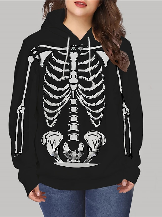 Women's Plus Size Tops Hoodie Sweatshirt Graphic Skull Print Long Sleeve V Neck Streetwear Halloween Halloween Daily Spandex Fall Winter Black