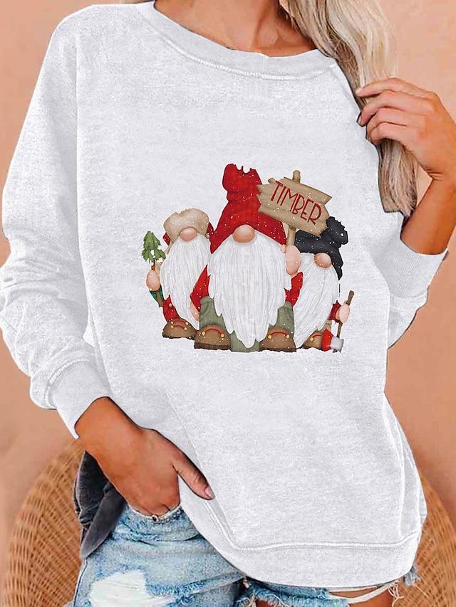 Dámské Kapuce Mikina Tisk Vánoce Denní Na běžné nošení Vánoce Mikiny s kapucí Mikiny Volné Fialová Šedá Bílá