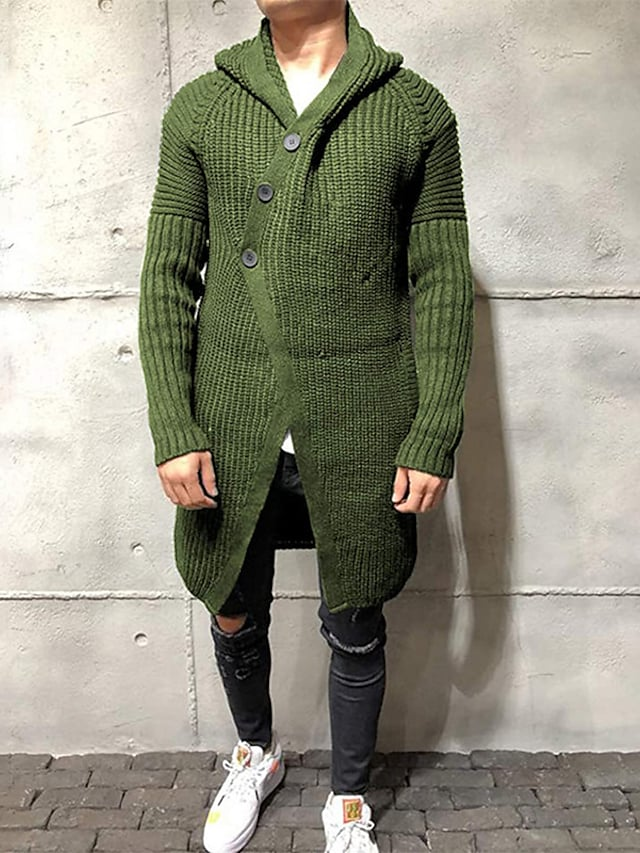 Men's Unisex Cardigan Knitted Solid Color Stylish Vintage Style Long Sleeve Slim Sweater Cardigans Hooded Fall Winter Army Green Gray Black