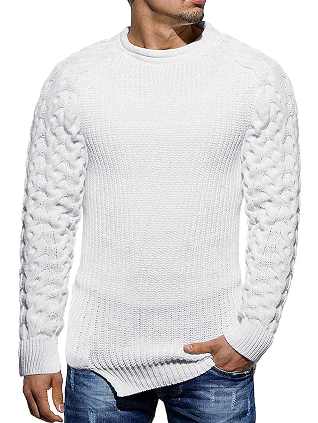 Men's Unisex Pullover Knitted Solid Color Color Block Stylish Vintage Style Long Sleeve Sweater Cardigans Crew Neck Fall Winter Army Green Gray White