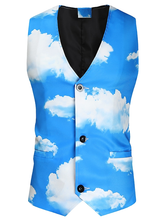 Men's Vest Gilet Daily Work Fall Winter Regular Coat Regular Fit Thermal Warm Warm Casual Streetwear Jacket Sleeveless Hot Stamping Universe Scenery Pocket Print Sky Blue