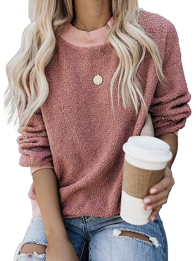 Women's Pullover Hoodies Solid Color Oversized Casual Sports Weekend Sportswear Casual Sweatshirts