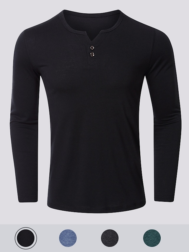 Men's T-Shirt Solid Color Button-Down Long Sleeve Casual Tops Simple Basic Formal Fashion