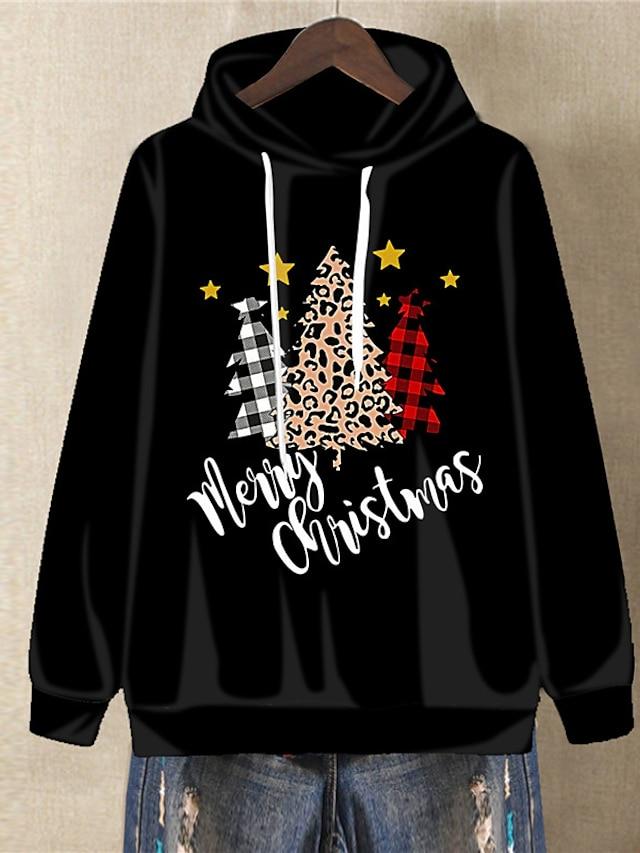 Women's Plus Size Tops Hoodie Sweatshirt Plaid Graphic Print Long Sleeve V Neck Streetwear Festival Christmas Daily Spandex Fall Winter Gray Black