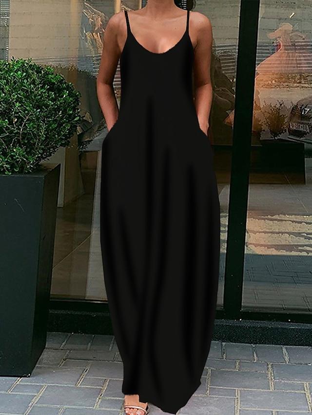 vestidos para mujer, bolsillos con cuello en v sin mangas para mujer vestidos de verano vestido de cóctel informal vestido largo suelto vestido de tirantes