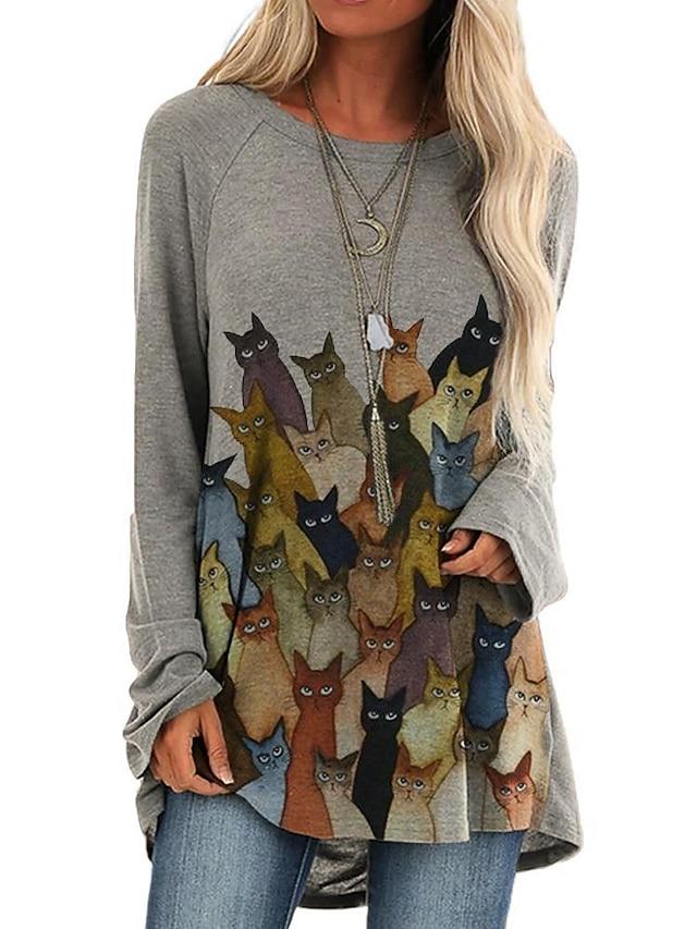Dam Skiftklänning Kort miniklänning Långärmad Tryck Katt Lappverk Tryck Höst Vår Varm Ledigt 2021 Blå Vin Kaki Grå S M L XL XXL 3XL