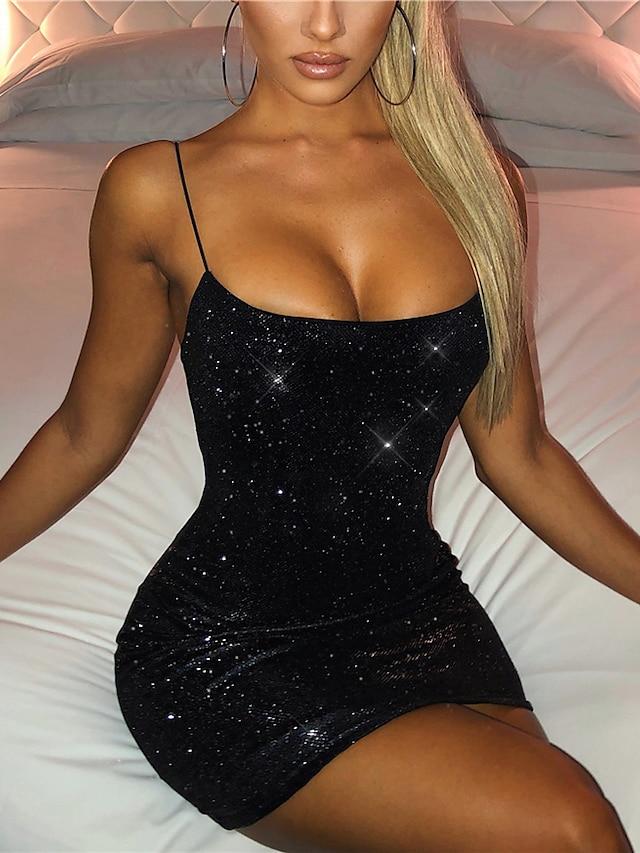 Női Hüvelyruha Rövid mini ruha Fekete Ujjatlan Tömör szín Nyitott hátú Flitter Nyár Szögletes Buli meleg Szexi Parti Klub Vékony 2021 S M L XL