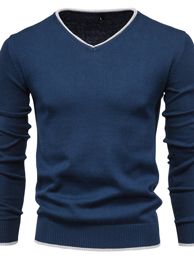 Men's Pullover Sweater Knitted Solid Color Stylish Long Sleeve Sweater Cardigans V Neck Fall Winter Yellow Gray White