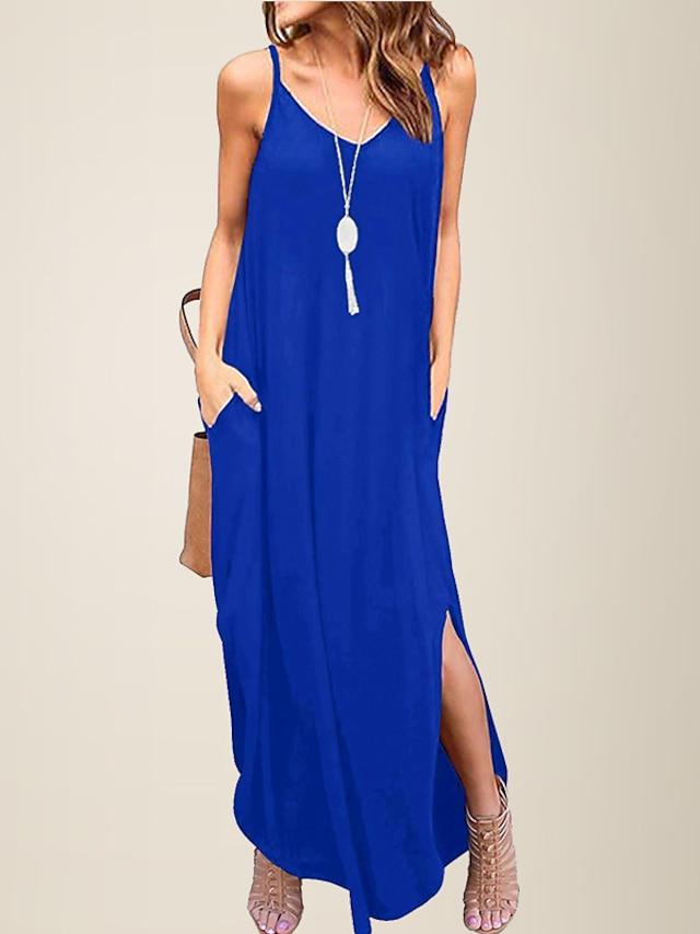 litb basic damski dekolt w serek luźna codzienna sukienka na ramiączkach spaghetti lato na co dzień damska letnia sukienka plażowa