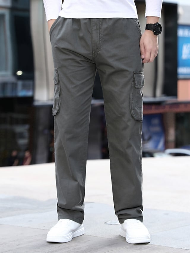 Men's Stylish Casual / Sporty Outdoor Sports Pants Chinos Tactical Cargo Trousers Casual Daily Pants Solid Color Full Length Pocket Khaki Light gray Dark Gray / Elasticity