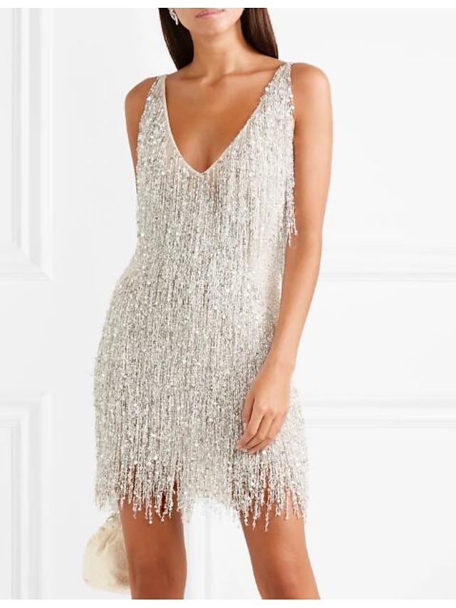 Women's Sheath Dress Short Mini Dress Silver Sleeveless Solid Color Backless Tassel Fringe Spring Summer V Neck Stylish Elegant Sexy 2021 S M L XL XXL Party
