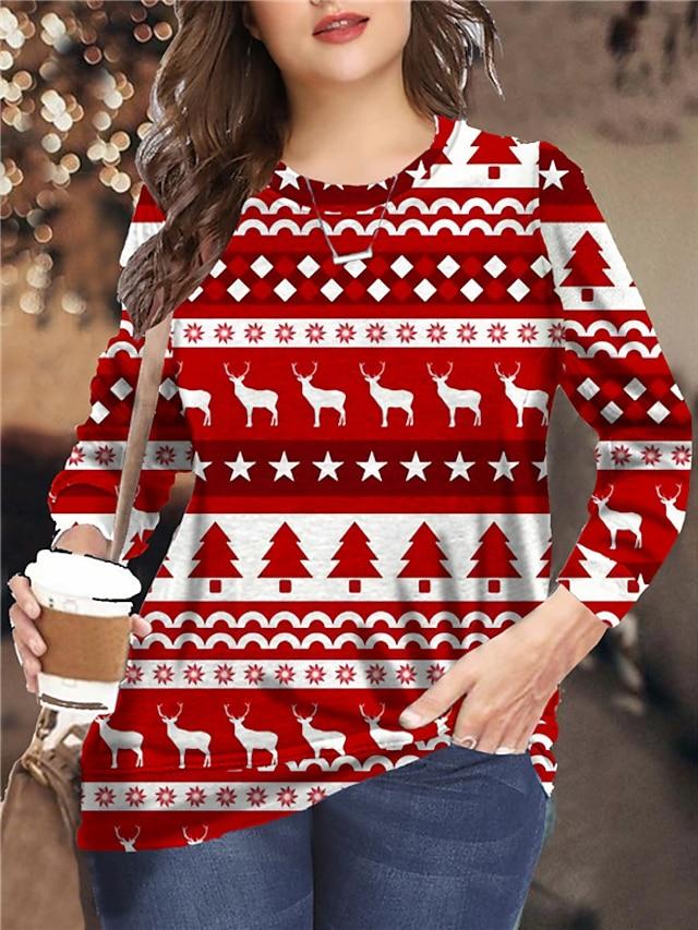 Women's Plus Size Tops Pullover Sweatshirt Color Block Animal Print Long Sleeve Crewneck Streetwear Festival Christmas Daily Microfiber Fall Winter Red Green