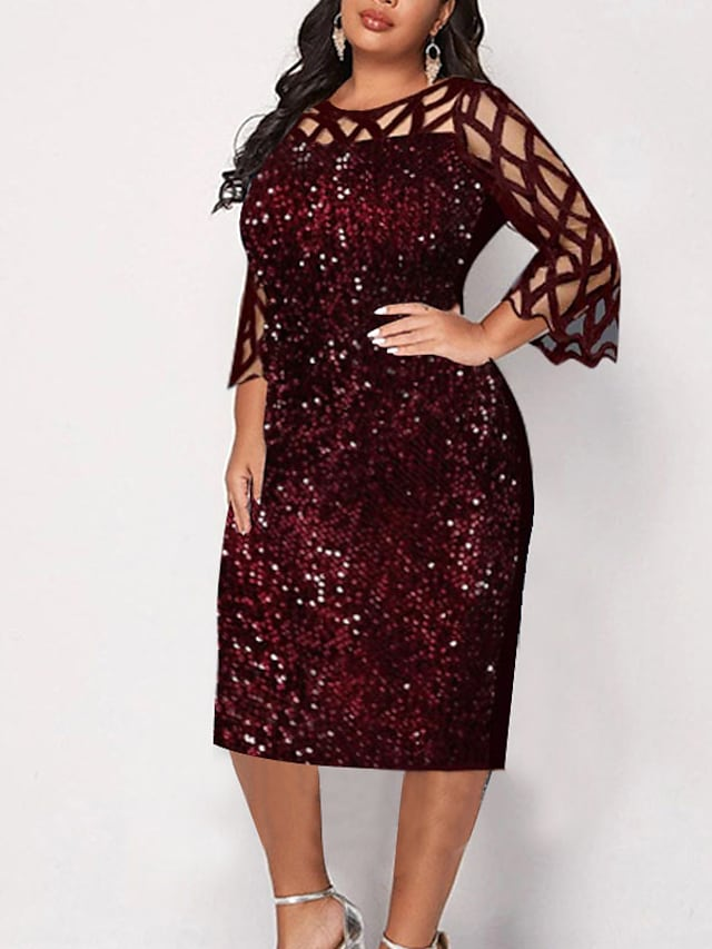 Women's Plus Size Dress Sheath Dress Midi Dress 3/4 Length Sleeve Solid Color Sequins Ruffle Sexy Spring Summer Black Dark Blue XL XXL 3XL 4XL 5XL