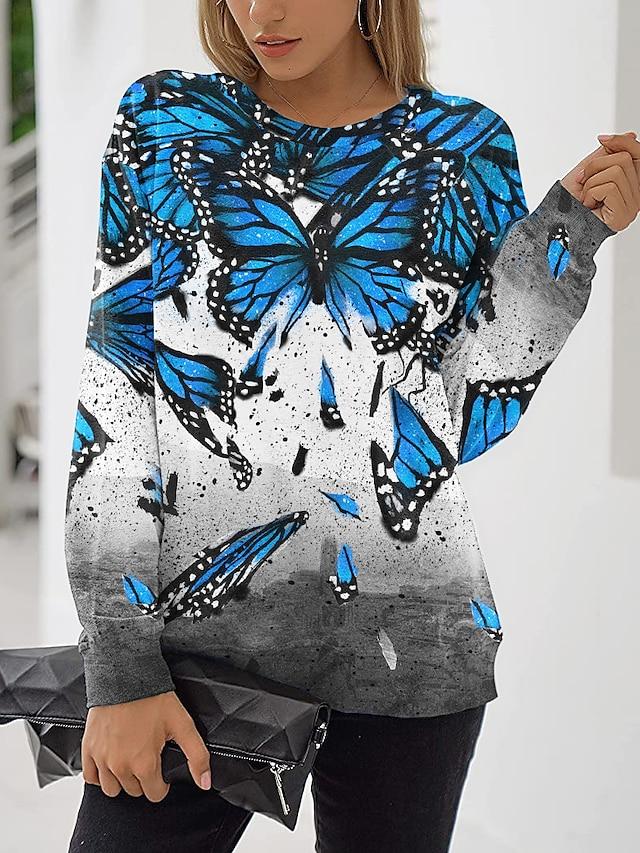 Women's Sweatshirt Pullover Butterfly Animal Print Daily Sports 3D Print Active Streetwear Hoodies Sweatshirts  Blue Purple Blushing Pink