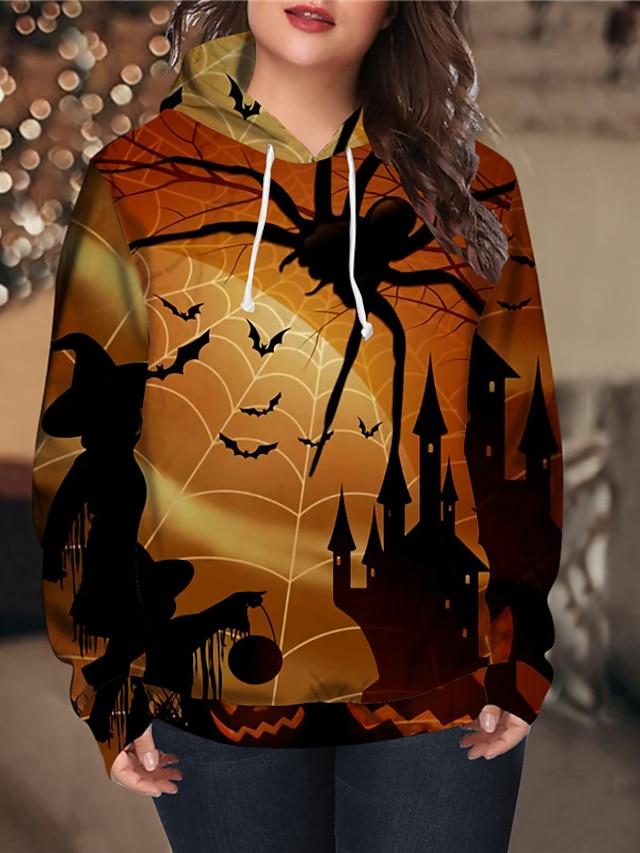 Women's Plus Size Tops Hoodie Sweatshirt Graphic Halloween Print Long Sleeve V Neck Streetwear Festival Halloween Daily Spandex Fall Winter Blue Yellow