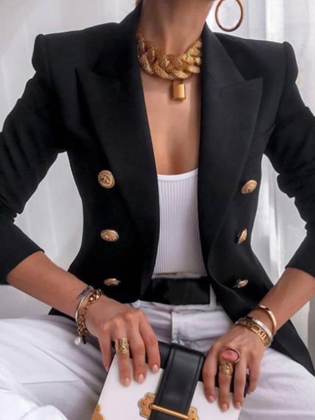 Pentru femei Blazer Culoare solidă Stil Vintage Casual Manșon Lung Palton Toamnă Iarnă Afaceri Cu Doi Nasturi Regulat Jachete Kaki / Lapel cu vârf / Primăvară / Muncă