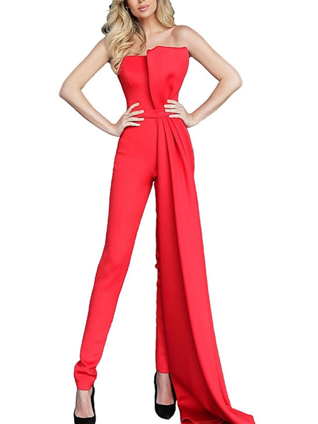 Women's Casual Streetwear Street Daily Wear High Waist Blue Blushing Pink Wine Jumpsuit Solid Colored Layered