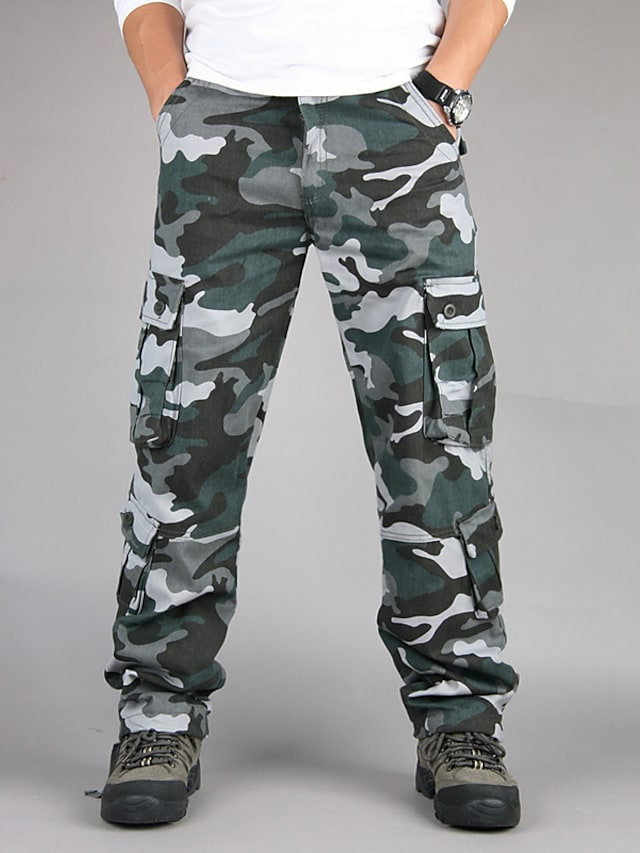Men's Classic Style Casual / Sporty Comfort Outdoor Pants Tactical Cargo Trousers Cotton Casual Sports Pants Camouflage Full Length Classic Pocket Blue Khaki Green Black