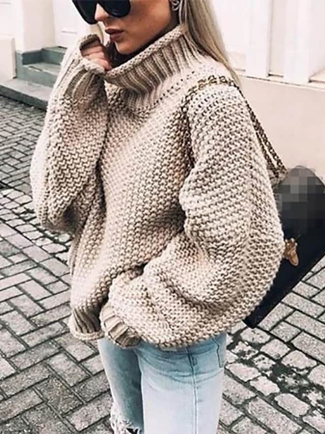 Women's Pullover Sweater Jumper Knitted Solid Color Basic Casual Chunky Long Sleeve Loose Sweater Cardigans Turtleneck Fall Winter Light Blue Purple Wine
