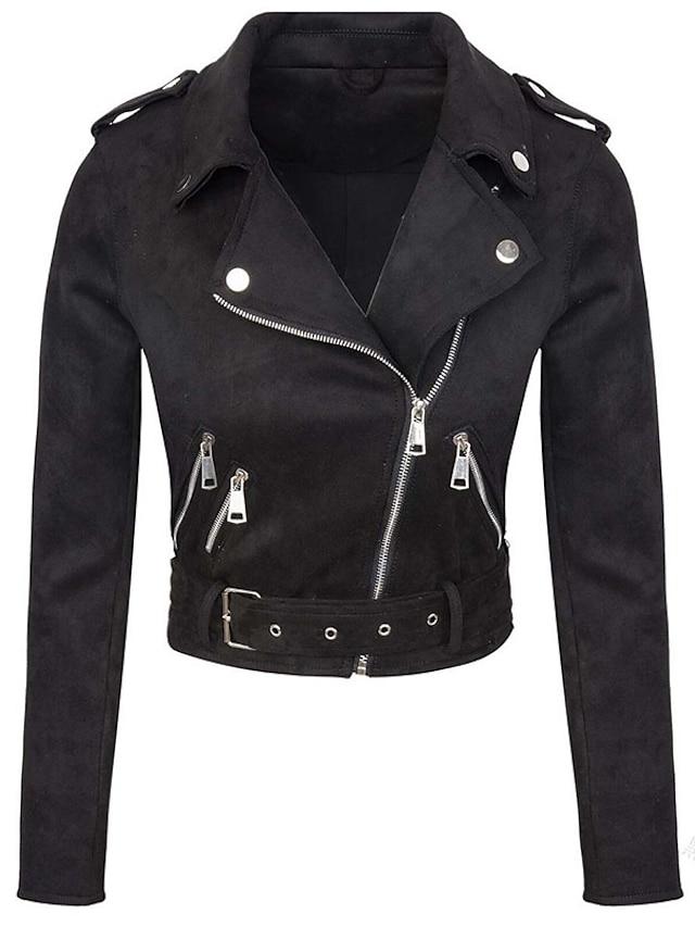 Women's Plus Size Jacket Zip Up Plain Date Going out Long Sleeve Turndown Short Fall Black L XL XXL 3XL 4XL