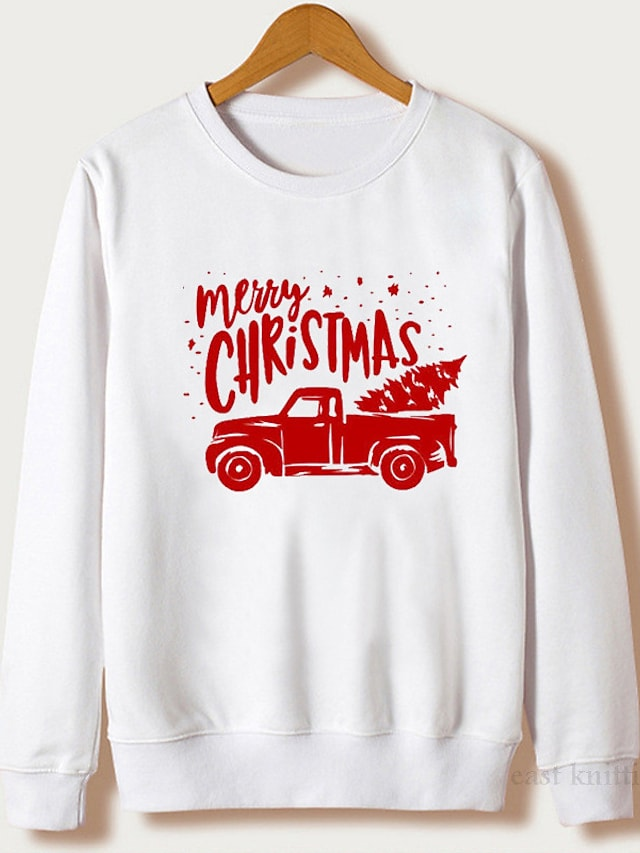 Women's Plus Size Tops Pullover Sweatshirt Graphic Letter Print Long Sleeve Crewneck Streetwear Christmas Christmas Daily Polyster Fall Winter White Red