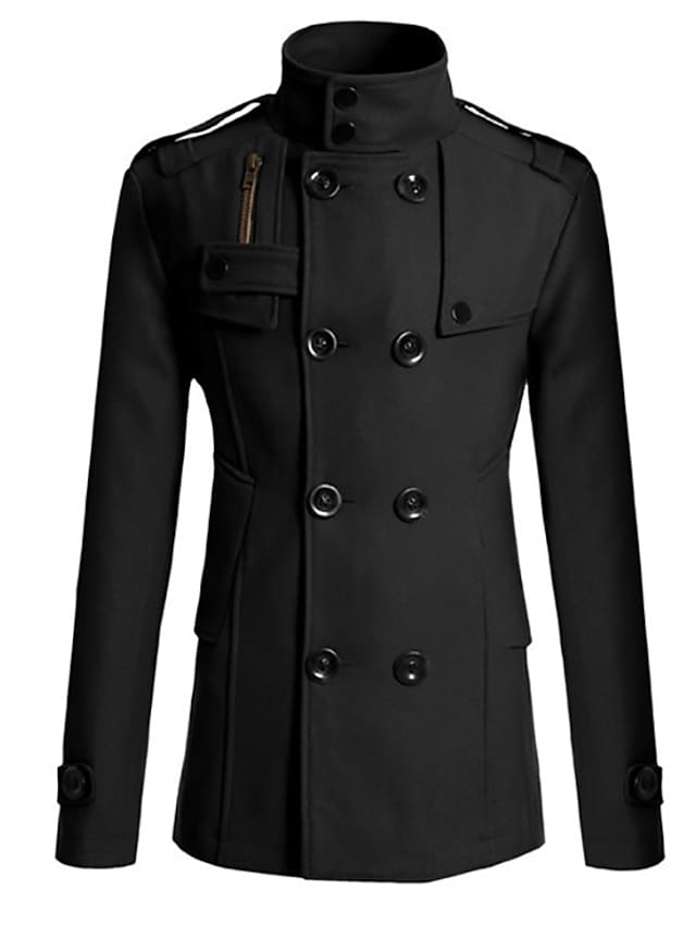 Men's Trench Coat Overcoat Daily Outdoor Fall Winter Long Coat Single Breasted Notch lapel collar Slim Warm Casual Streetwear Jacket Long Sleeve Solid Color Quilted Gray Khaki Black