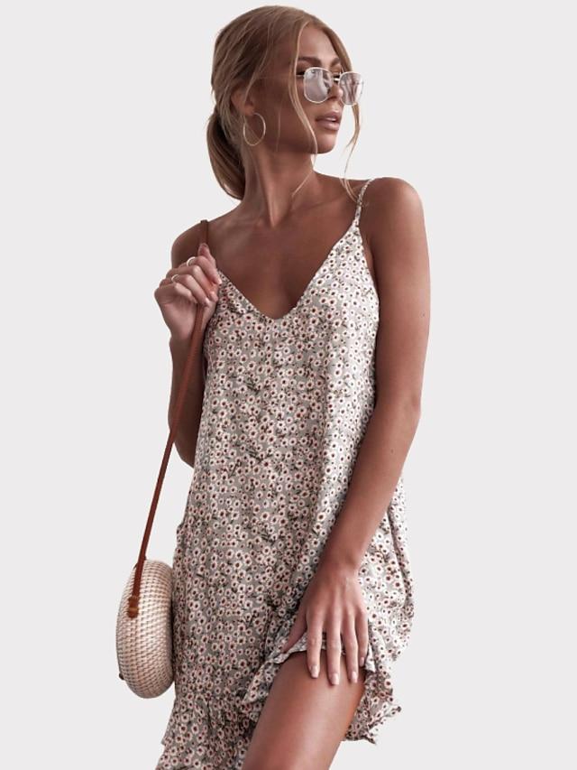 litb básico vestido floral de una línea para mujer vestido floral sin mangas mini vestido cruzado vacaciones diario elegante