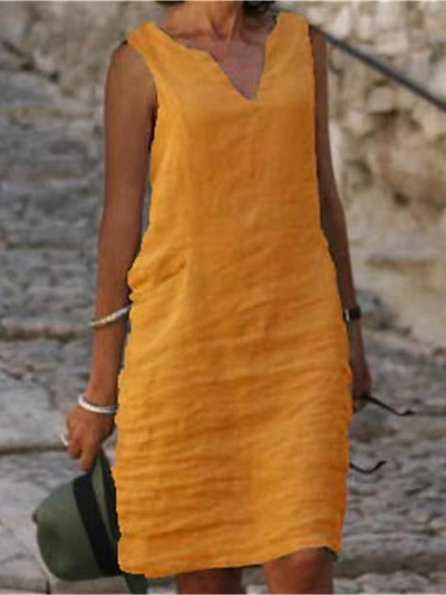 kvinnors skiftklänning knälång klänning blå gul rosa grön kungsblå ärmlös enfärgad kall axel sommar v -hals casual lös 2021 s m l xl xxl 3xl 4xl